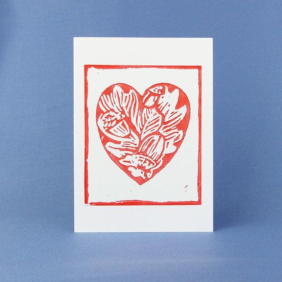 Oak Leaf and Acorn Heart Card - Orange