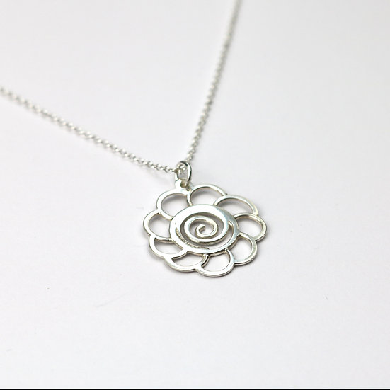 Handmade Sterling Silver Flower Pendant