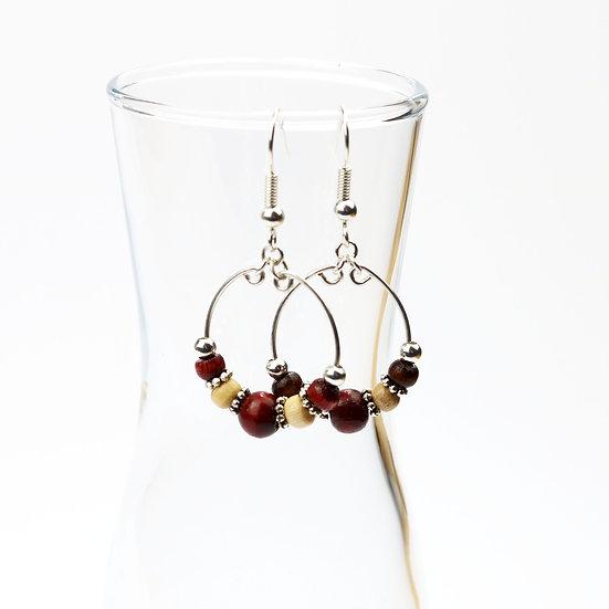 Wooden Beaded Boho Hoop Earrings {Small Bead)