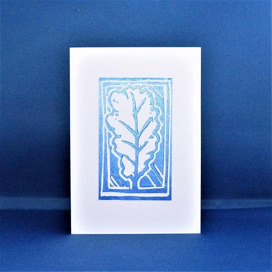 Oak Leaf Card - Blue