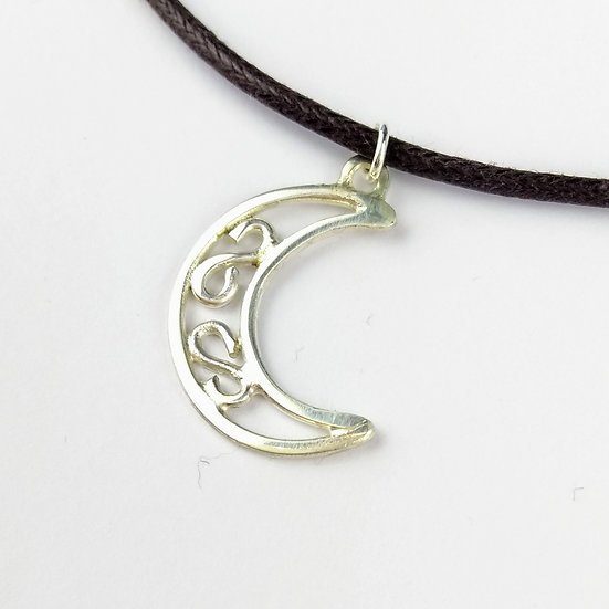 Sterling Silver Moon Pendant Necklace