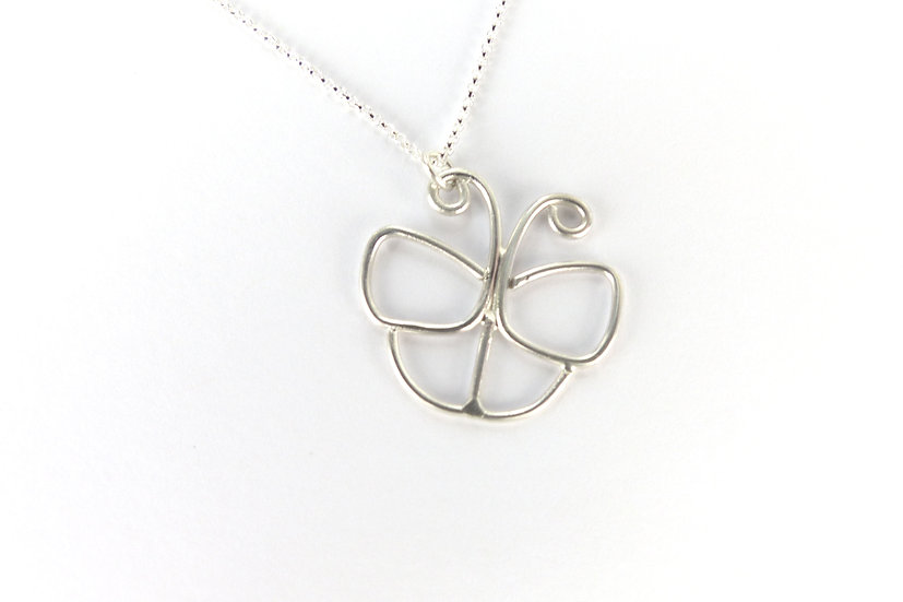 Sterling Silver Delicate Butterfly Pendant