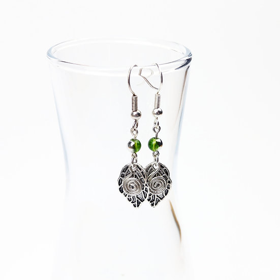 Green & Silver Leaf and Spiral Earrings