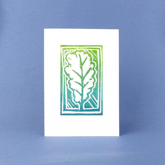 Oak Leaf Card - Green - Handmade Greetings Card