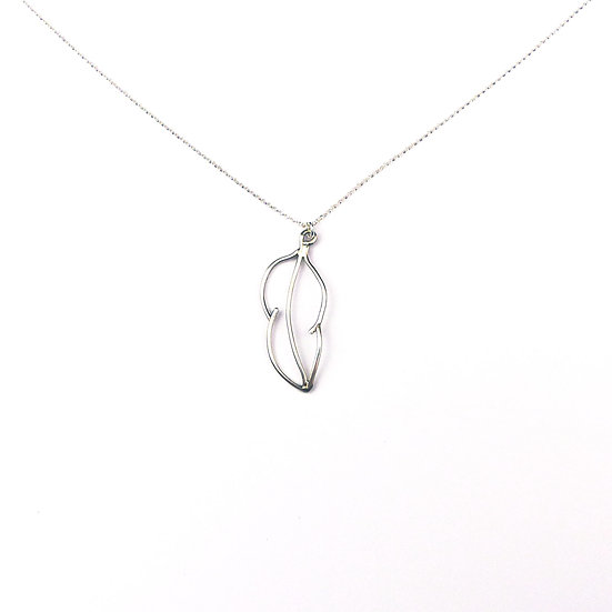 Sterling Silver Handmade Feather Pendant Necklace