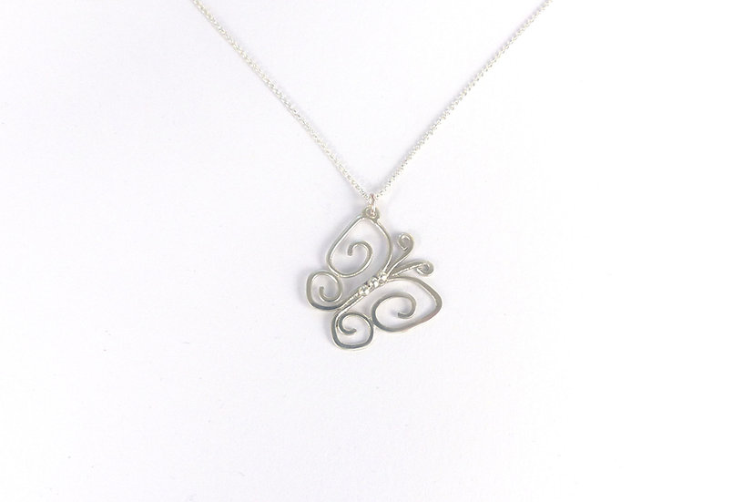 Sterling Silver Ornate Butterfly Pendant Necklace