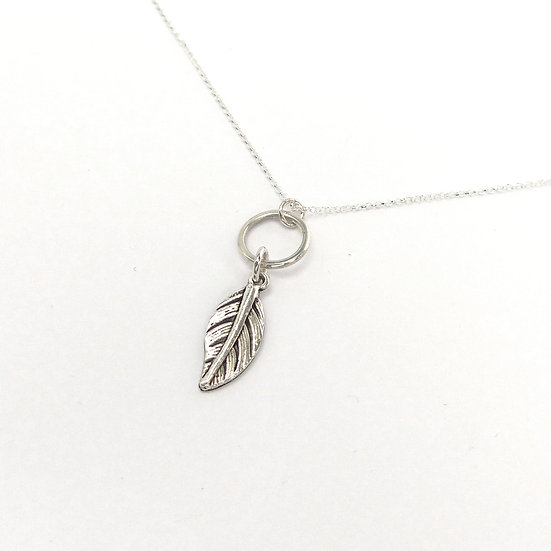 Silver Circle and Feather Pendant Necklace