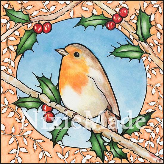 Winter Robin - Original Art Giclée Print