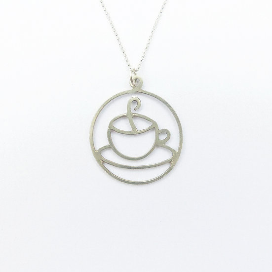 Sterling Silver Teacup / Coffee Cup Pendant Necklace