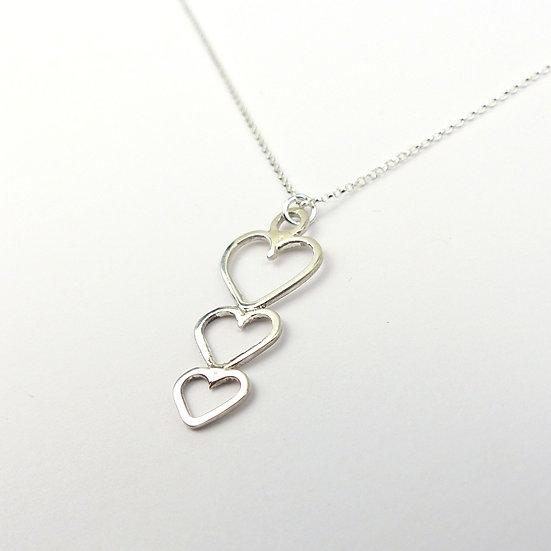 Heart Cascade Handmade Sterling Silver Pendant