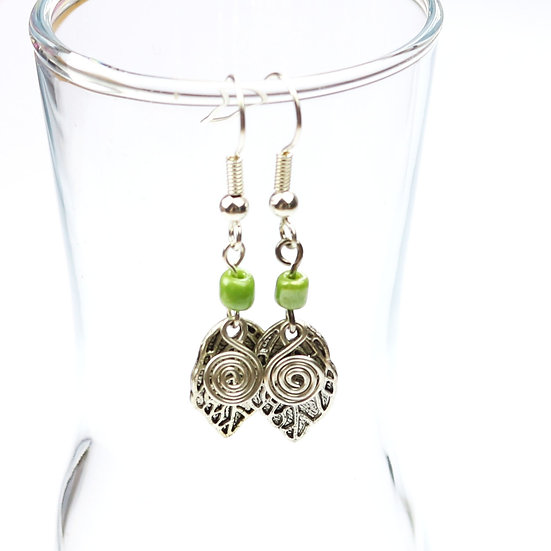 Silver Leaf and Spiral Earrings
