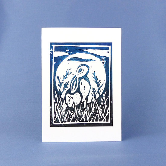 Wild Hare Card - Midnight - Handmade Greetings Card