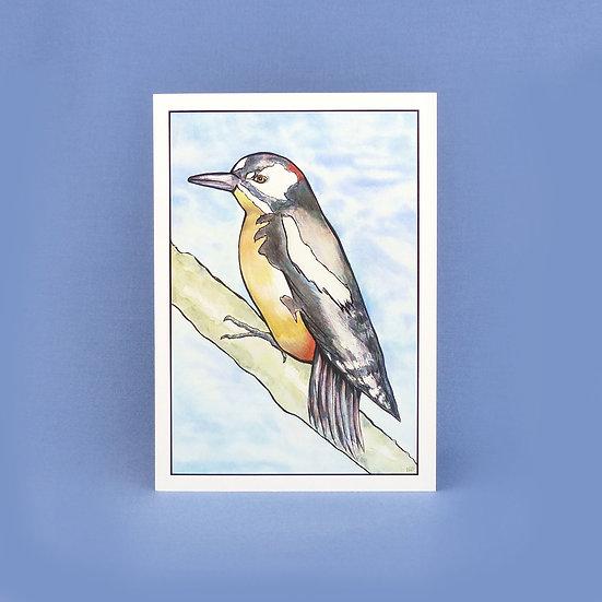 Great Spotted Woodpecker - Original Art Greetings Card