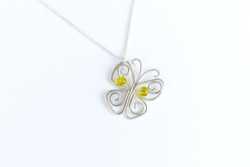 Sterling Silver Butterfly Pendant Necklace, Yellow Detail