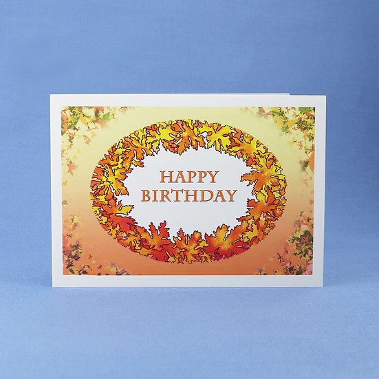 Autumn Wreath - Original Art Birthday Card