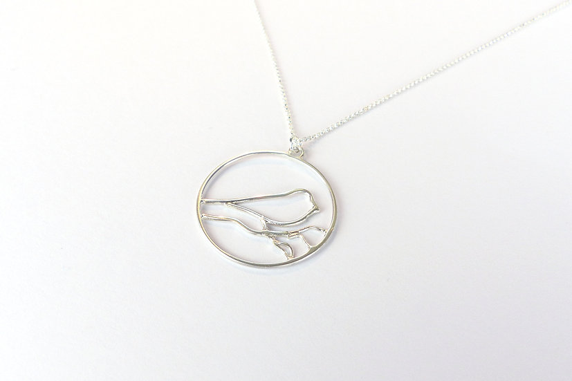 Sterling Silver Songbird Pendant Necklace