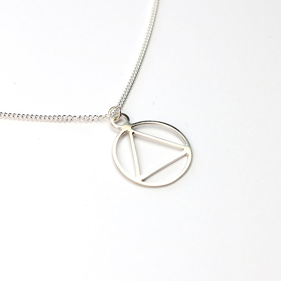 Handmade Sterling Silver Fire Symbol Necklace