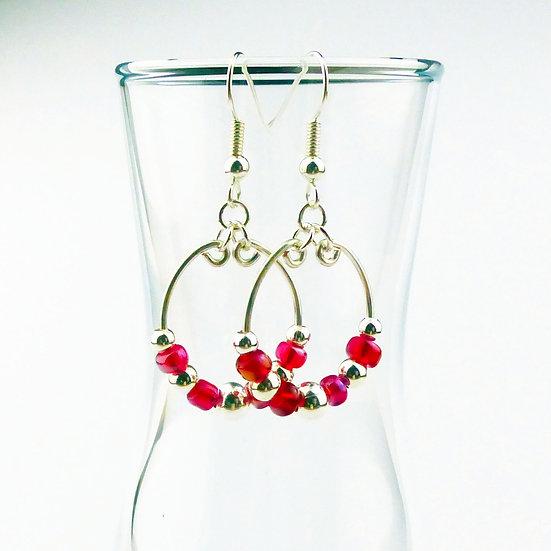 Red and Silver Beaded Hoop Earrings