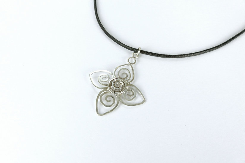 Sterling Silver Spirals Pendant Necklace