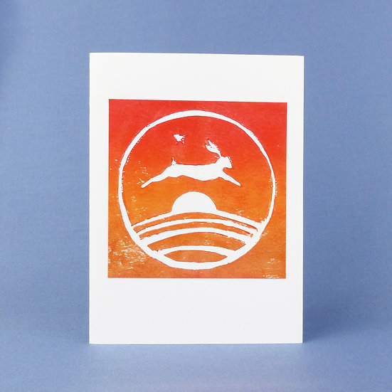 Leaping Hare Card - Sunset