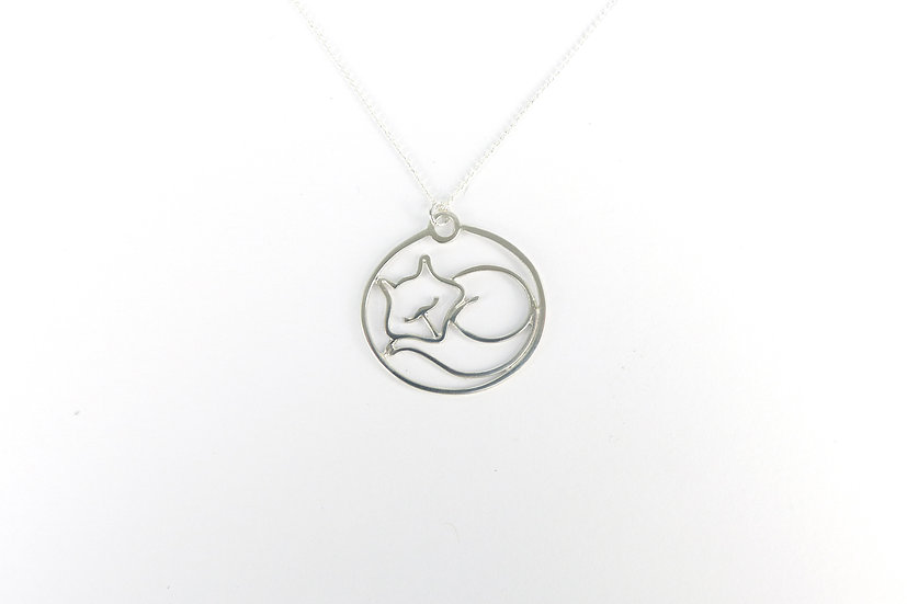 Sterling Silver Sleeping Fox Pendant Necklace