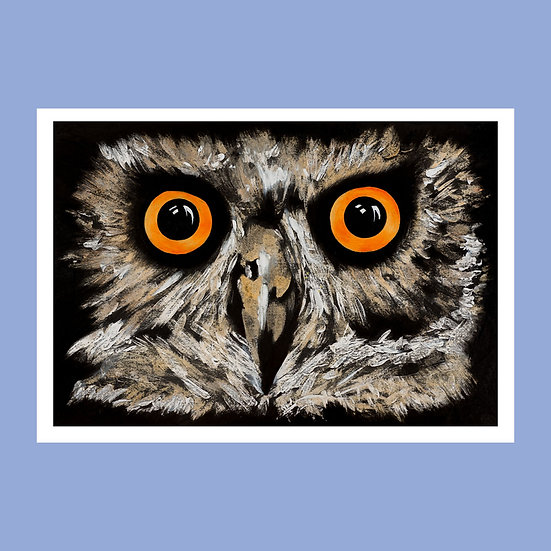 Dave The Owl - Original Art Greetings Card