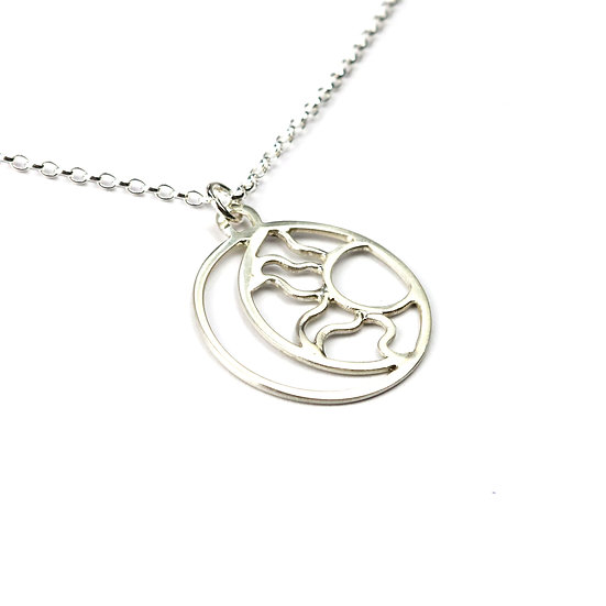 Handmade Sterling Silver Sun and Moon Necklace