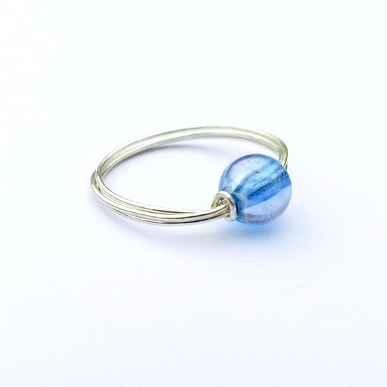 Sterling Silver Bead Ring (Blue)