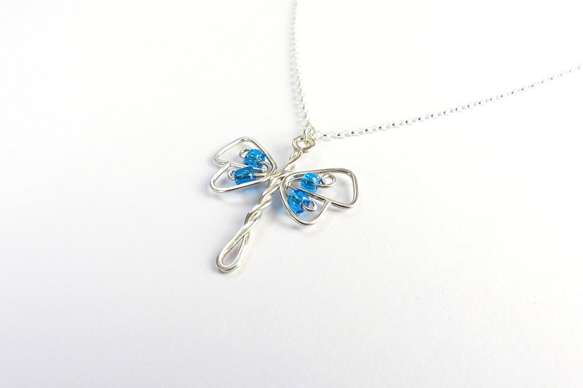 Sterling Silver Blue Dragonfly Pendant Necklace