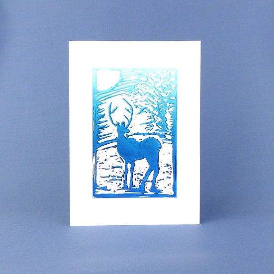 Stag Card - Sunrise - Handmade Greetings Card