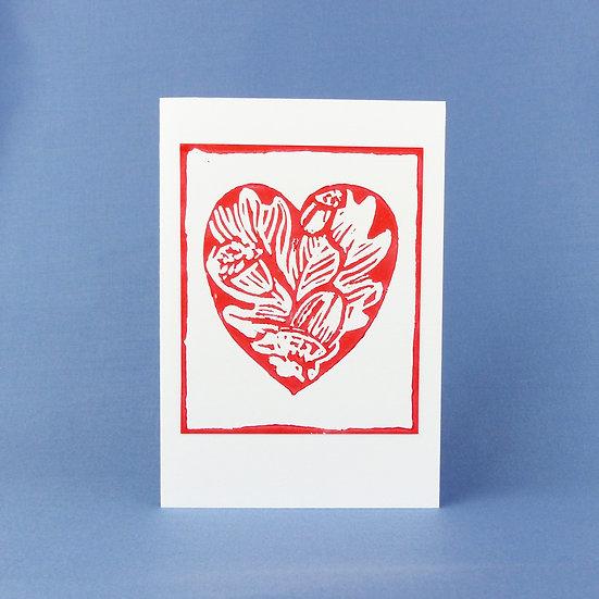 Oak Leaf and Acorn Heart Card - Red