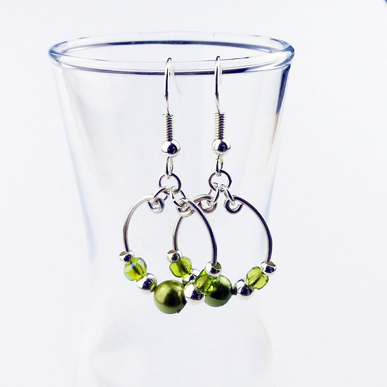 Green and Silver Beaded Hoop Earrings