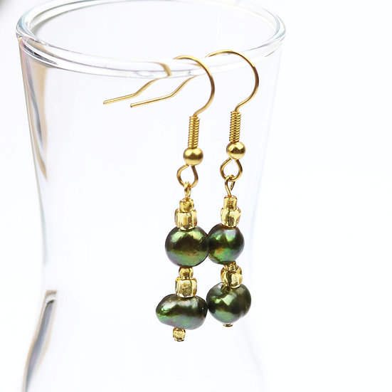 Green and Gold Beaded Drop/Dangle Earrings