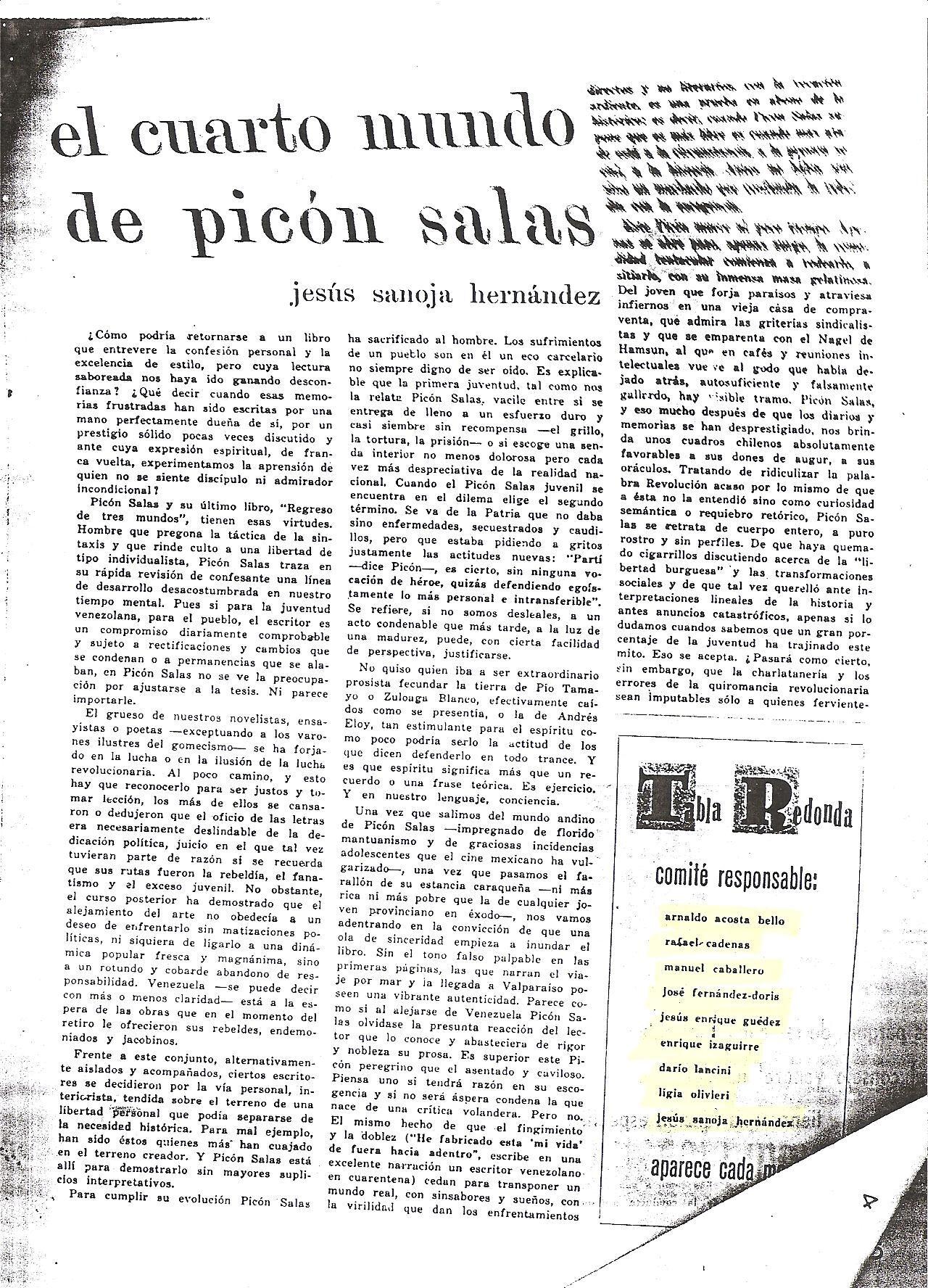 El cuarto Mundo de Picon Salas I
