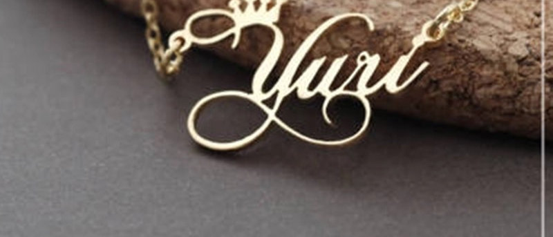 SWIRLY CROWN DESIGN NAME NECKLACE
