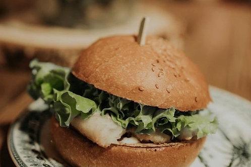 Menu hamburger vegano e patate