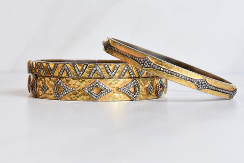 Gold, Sterling & Diamond Bangle