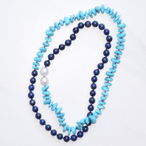 Lapiz & Turquoise w/ South Sea Pearls Candy Necklace