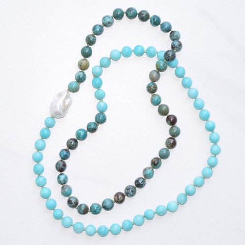 Amazonite & Turquoise w/ Freshwater Pearl Candy Necklace