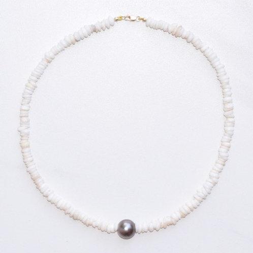 Tahitian Pearl & Puka Shell Short Necklace