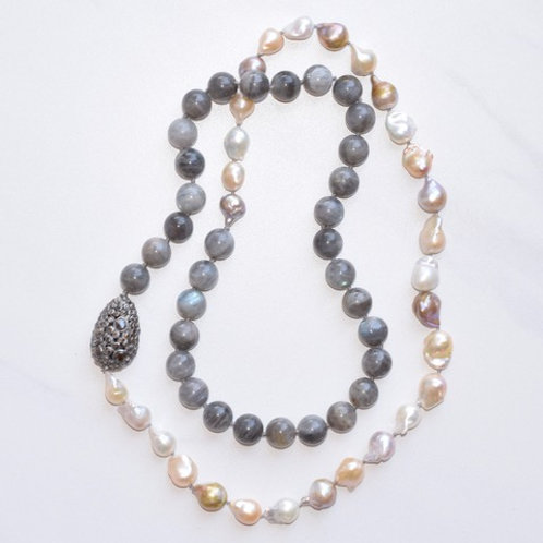 Freshwater Pearls & Labradorite w/ Diamond Bead Candy Necklace