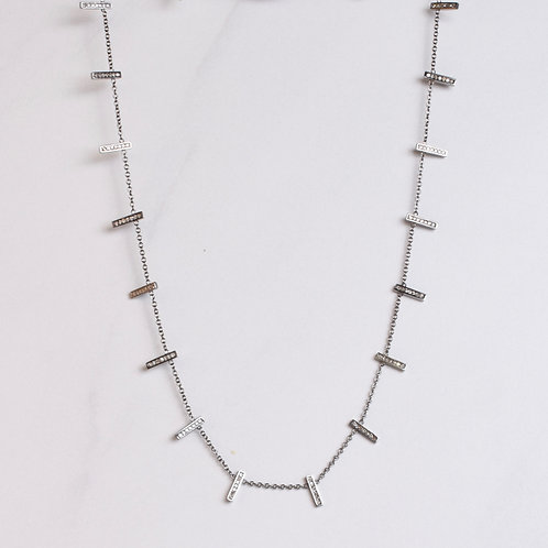 Sterling & Diamond Bar Necklace