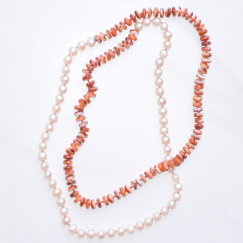 Freshwater Pearls & Spiny Oyster Candy Necklace