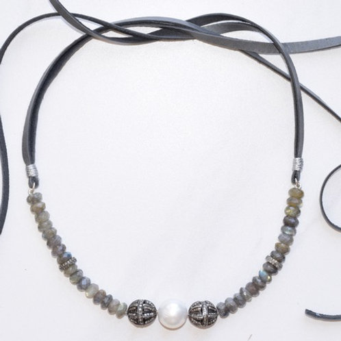 South Sea Pearl, Labradorite & Diamonds Choker
