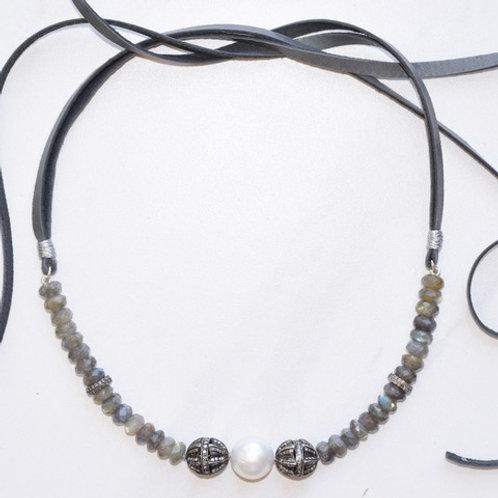 South Sea Pearl, Labradorite & Diamonds Choker