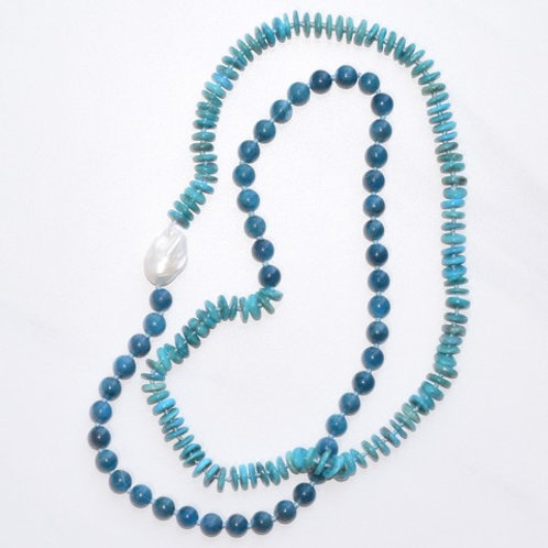 Apatite & Turquoise w/ Freshwater Pearl Candy Necklace