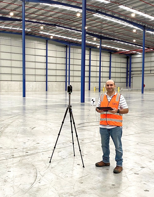 SketchMarque team on site 3D scanning of an industrial Warehouse to provide BIM modelling