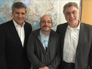 From left, Washington Post Foreign Editor Douglas Jehl, Jason Rezaian and Executive Editor Martin Baron are seen Monday afternoon at Landstuhl Regional Medical Center in Germany after a two-hour meeting. (The Washington Post)