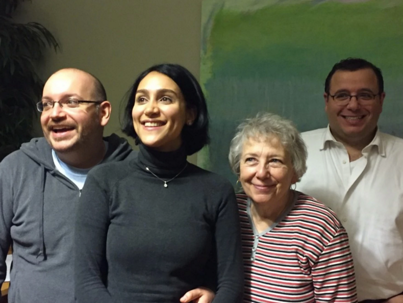 Jason Rezaian with his wife, Yeganeh Salehi; mother, Mary Rezaian; and brother, Ali Rezaian. (The Washington Post)