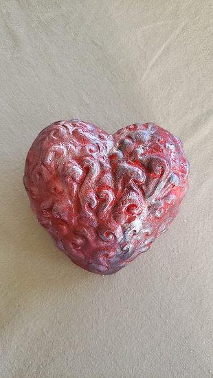 Corazón Textura Rojo/Plateado